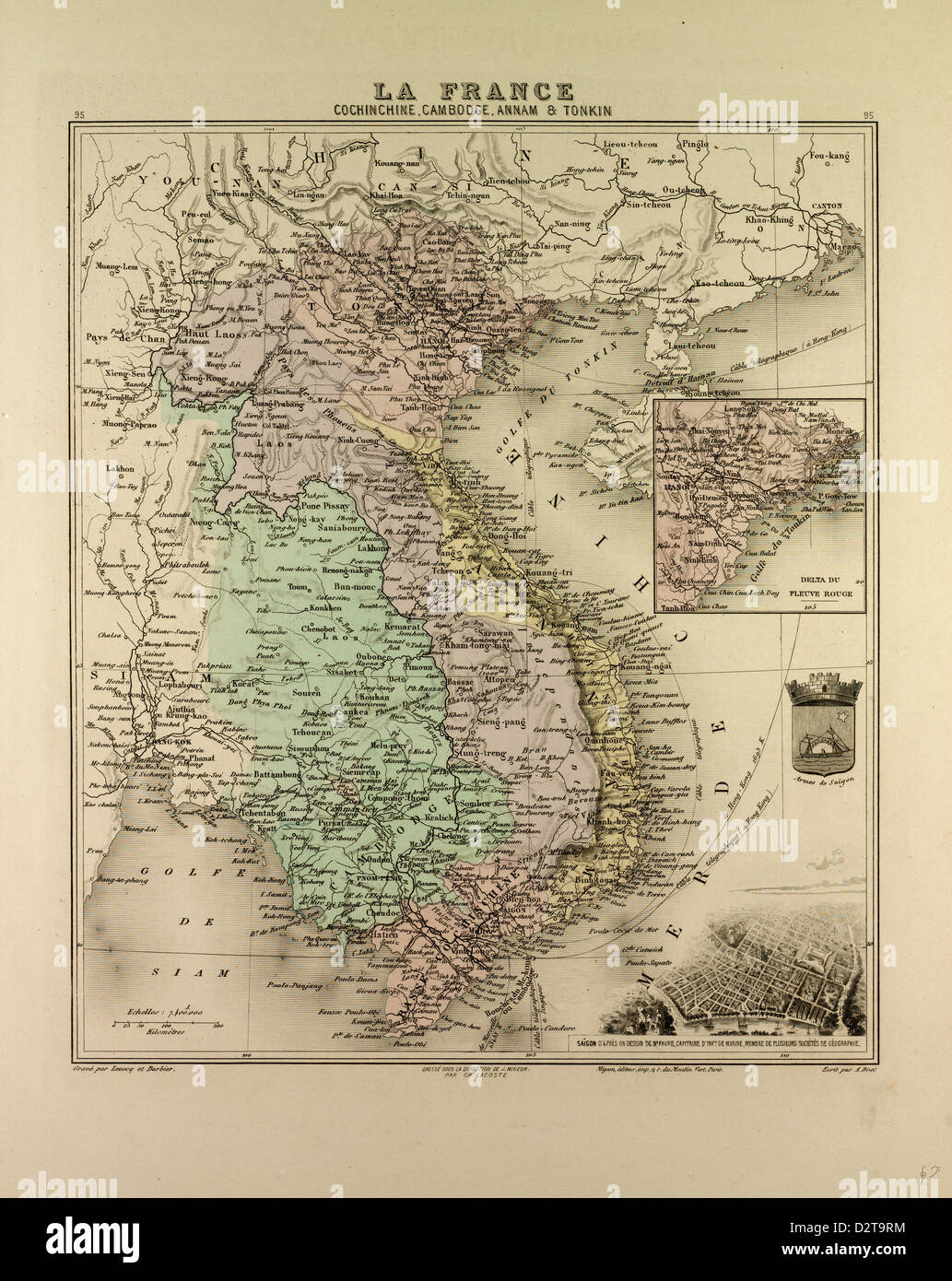 Karte Thailand Kambodscha.Karte Von Vietnam Kambodscha Thailand Laos 1896 Stockfoto Bild