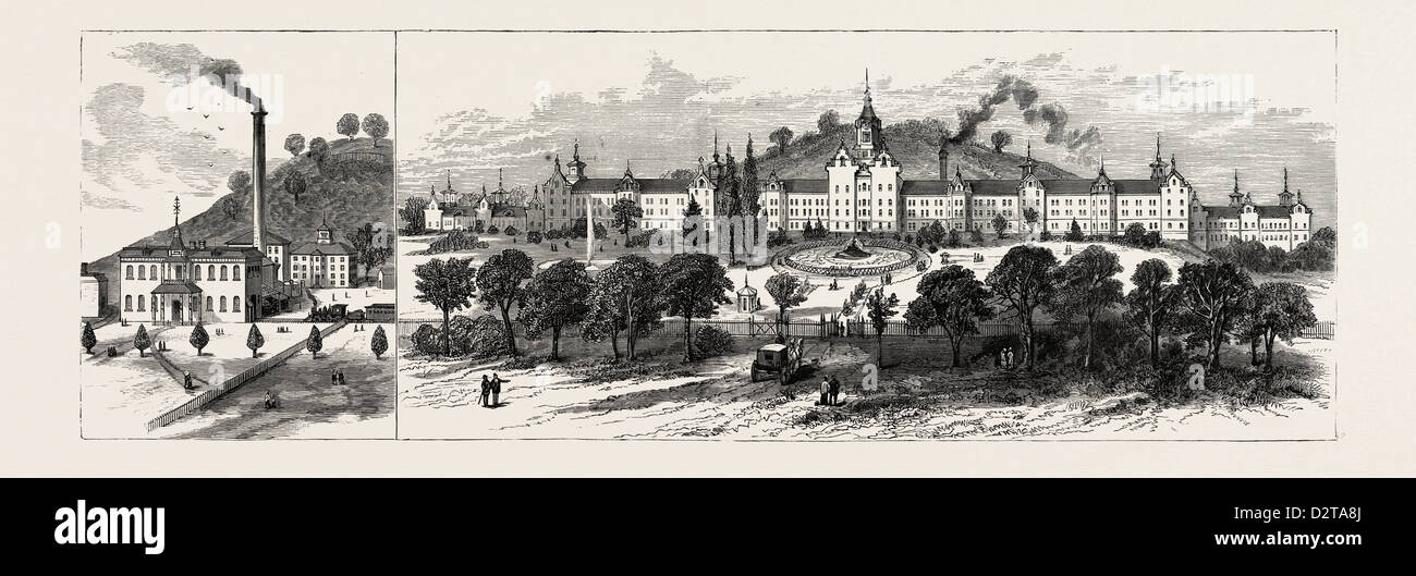 WEST VIRGINIA: NEUE STATE HOSPITAL FOR THE INSANE IN WESTON. USA, Gravur 1880 1881 Stockbild