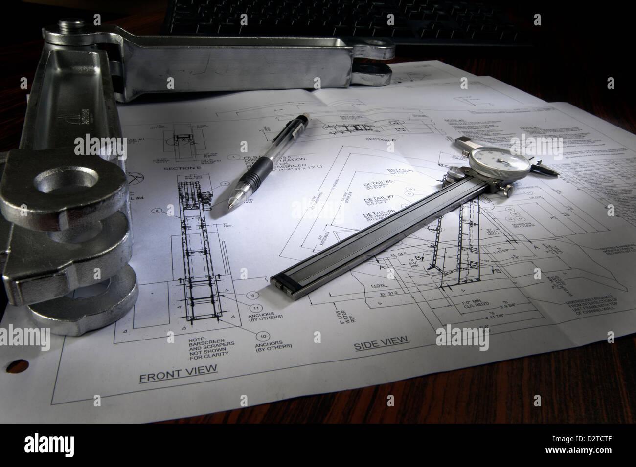 Technische engineering Design-Stillleben Stockbild
