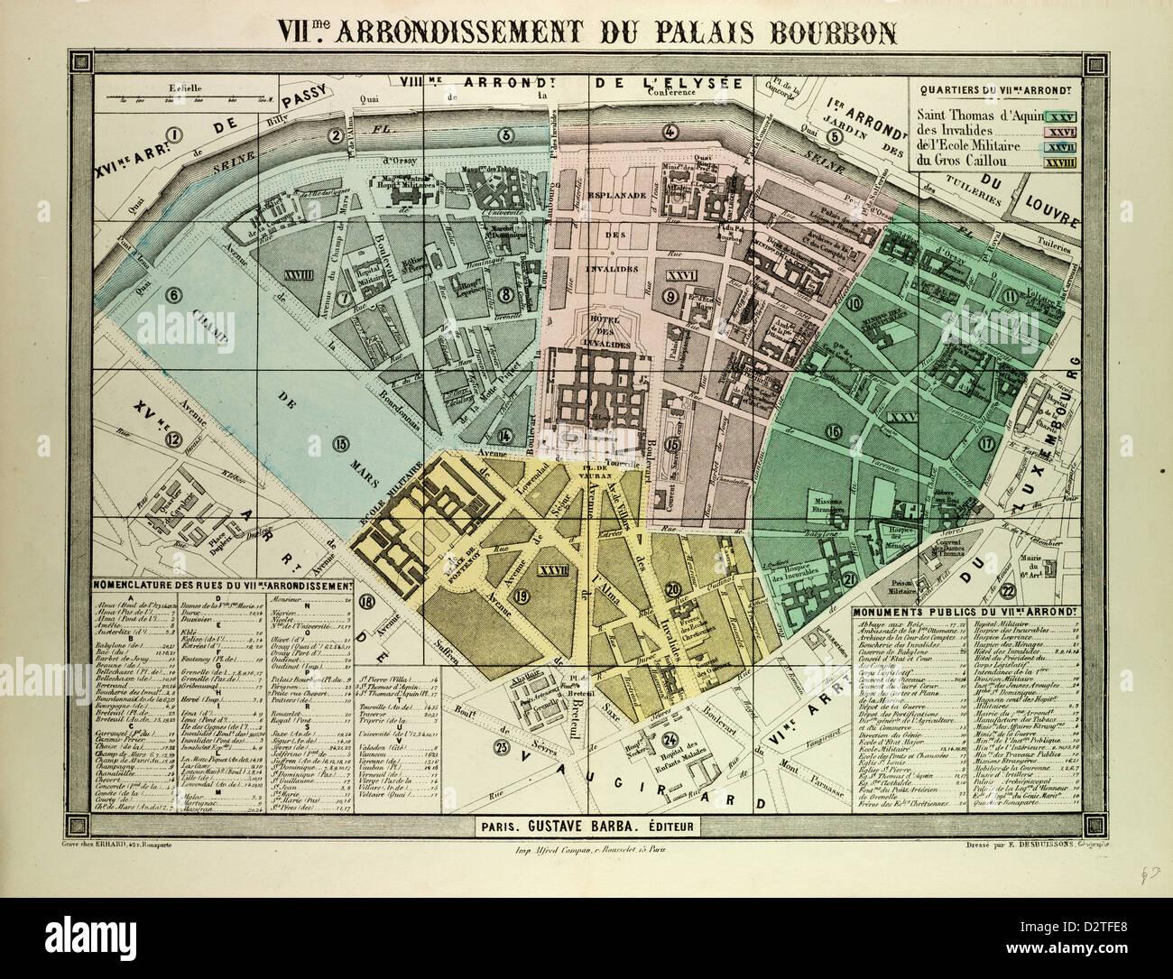 Karte Paris Arrondissement.Karte Des 7 Arrondissement Du Palais Bourbon Paris