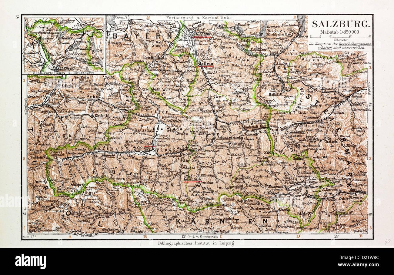 Salzkammergut Karte.Salzburg Salzkammergut Osterreich Landkarte Map 1907