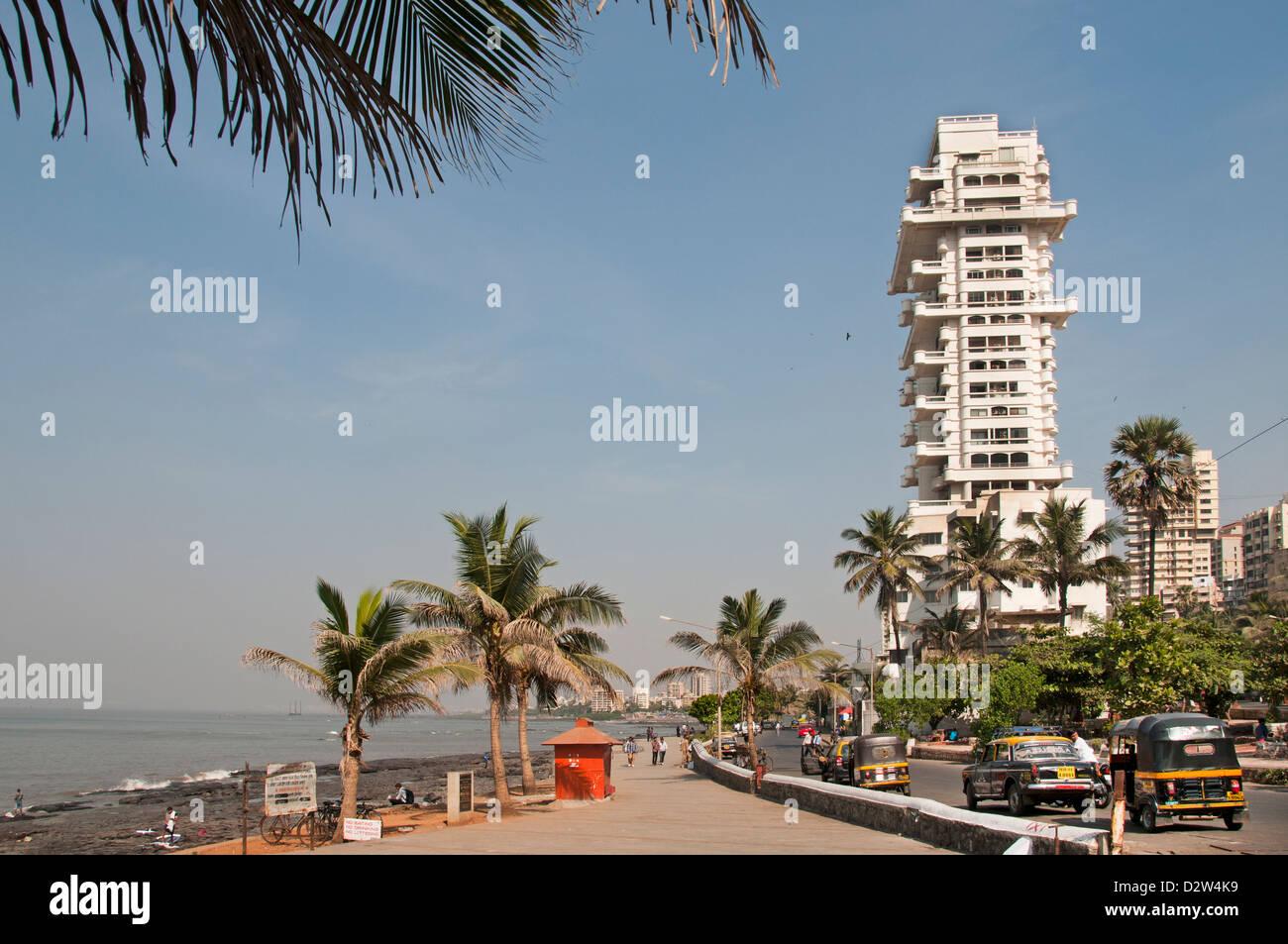 Bandra Strandstraße Mumbai (Bombay) Indien moderne Architektur Stockfoto