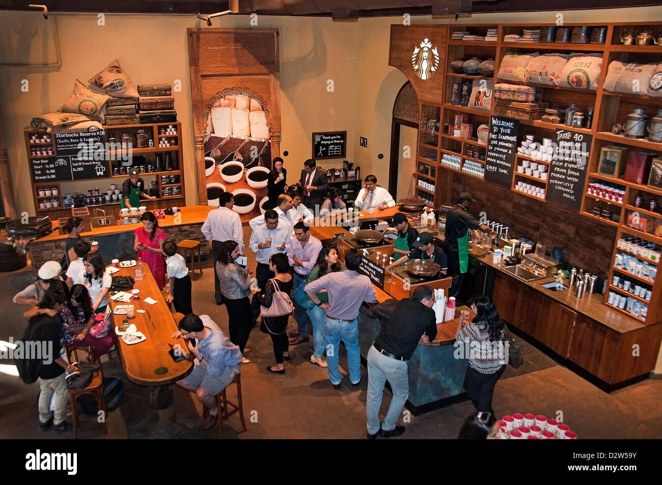 Starbucks Coffee trendige coole Mumbai (Bombay) Café Bar Indien Stockbild