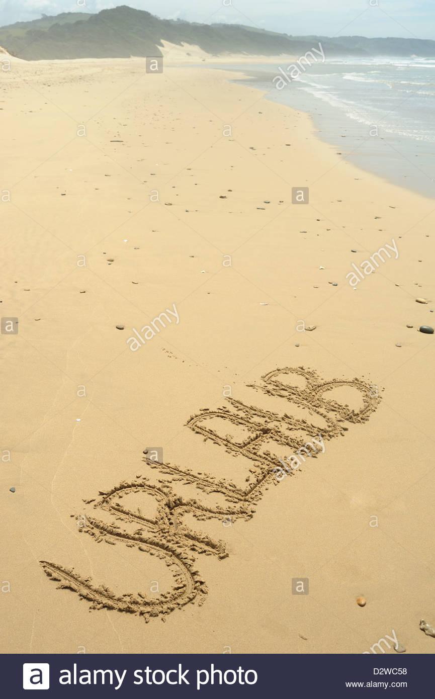 Cyntsa Eastern Cape Südafrika - Urlaub Geschreiben in Sand Stockbild