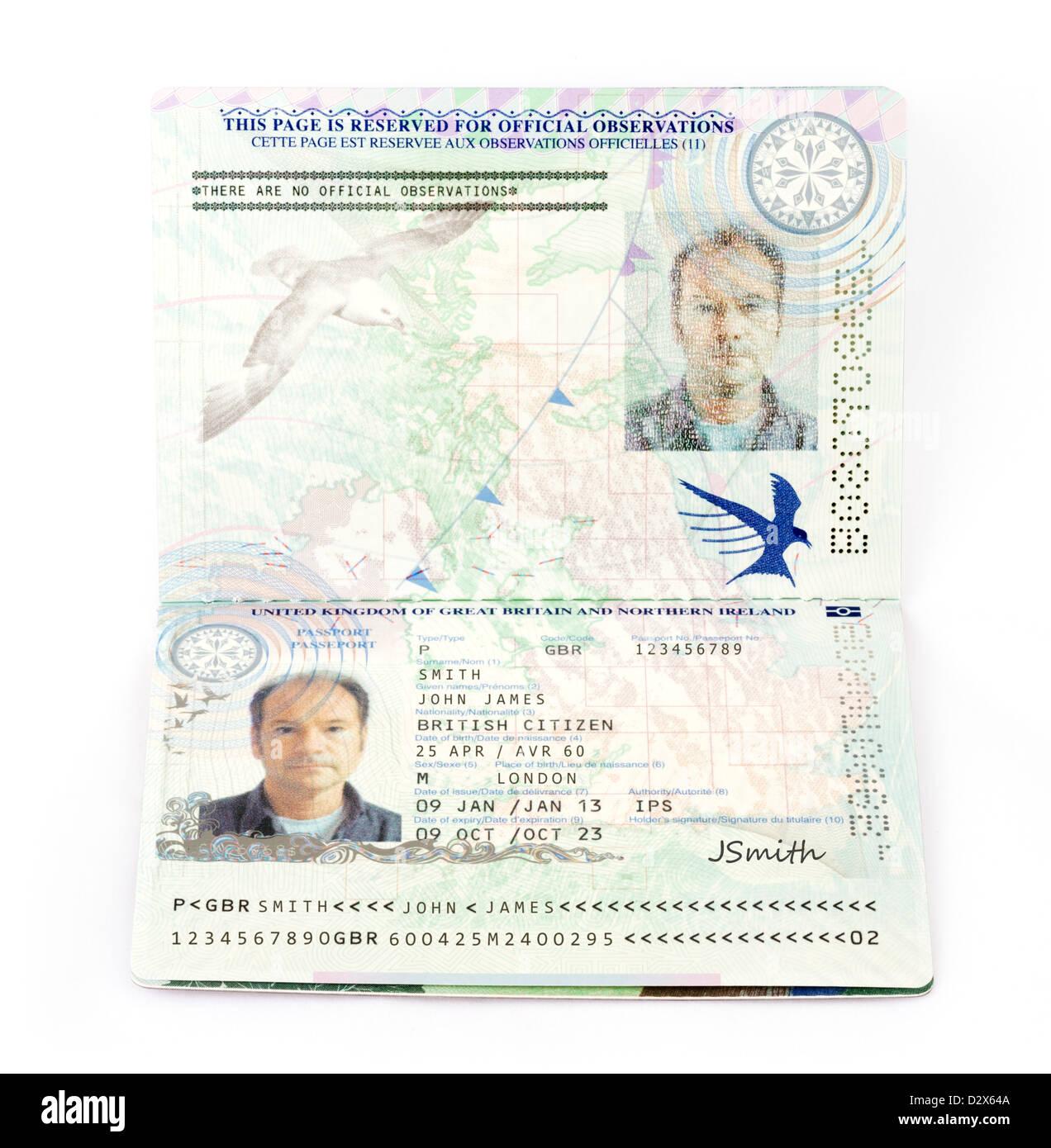 Ein 2013 Europäische Union biometrischer Reisepass für das Vereinigte Königreich (mit fiktiven Daten) Stockbild