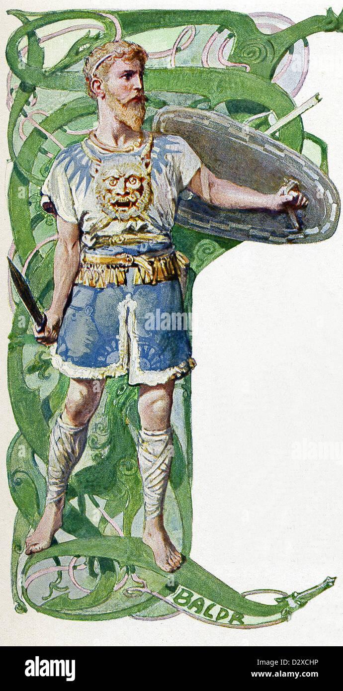 Laut der nordischen Mythologie ist Balder (auch Baldr und Baldur) des nordischen Gottes Frieden und Licht und Frühling. Stockbild