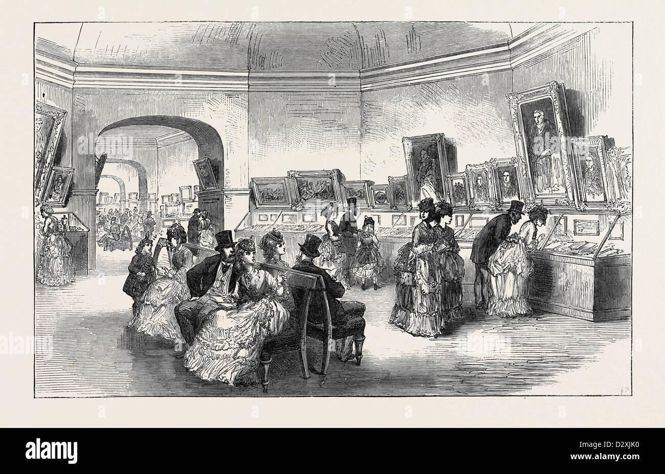 DIE SCOTT HUNDERTJAHRFEIER: AUSSTELLUNG VON PORTRAITS UND RELIQUIEN AN EDINBURGH 1871 Stockbild