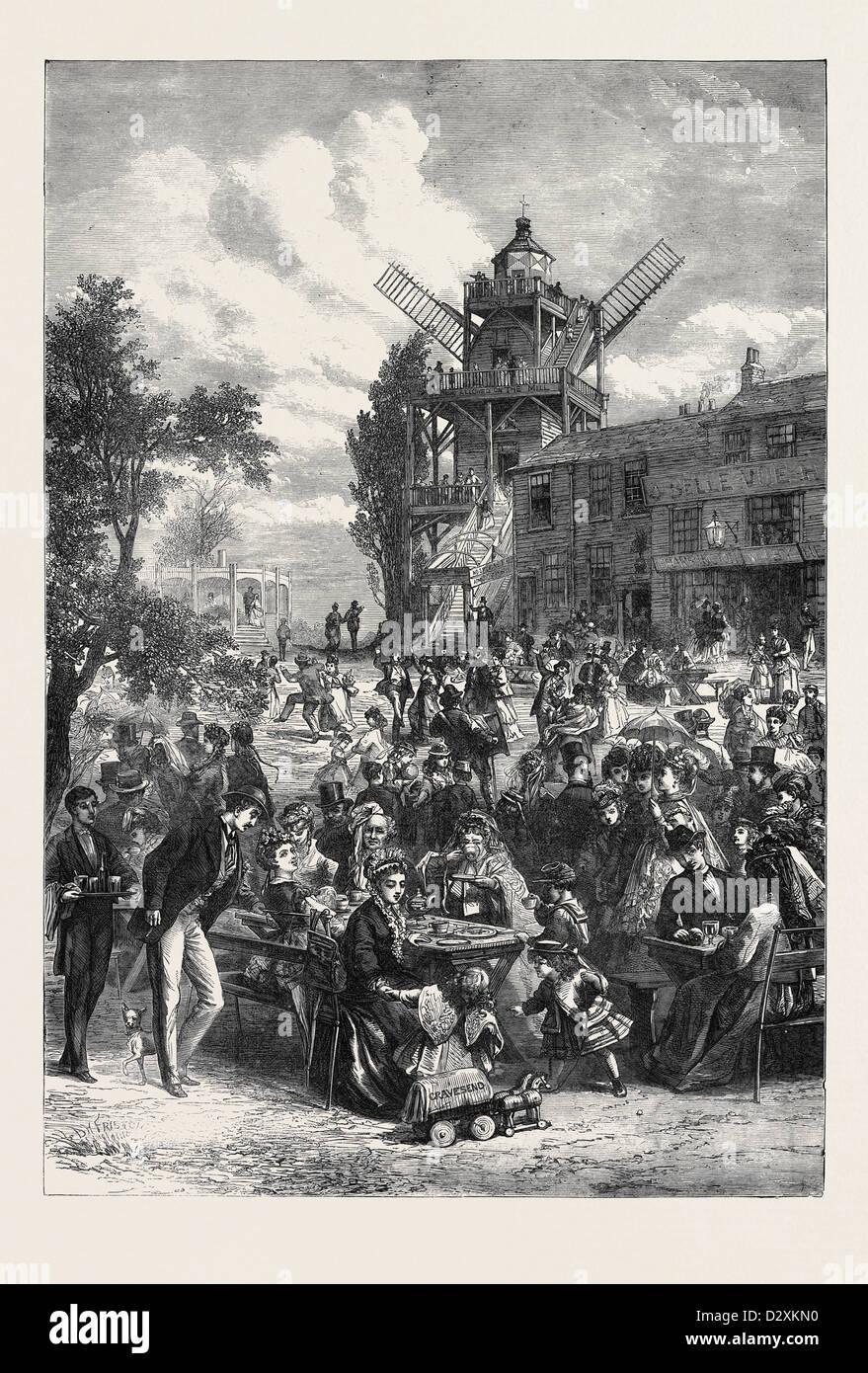 A SAMSTAG URLAUB HÄLFTE 1871 Stockbild