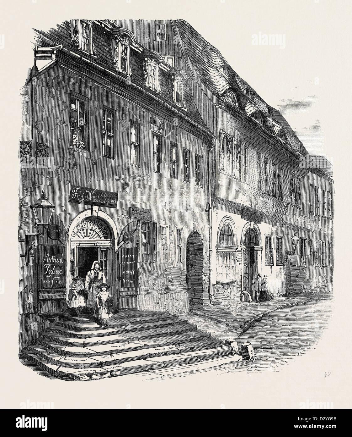 GEBURTSHAUS VON GEORG FRIEDRICH HÄNDEL IN HALLE SACHSEN NACH EINER FOTOGRAFIE VON HERRN C. KLINGEMANN Stockbild