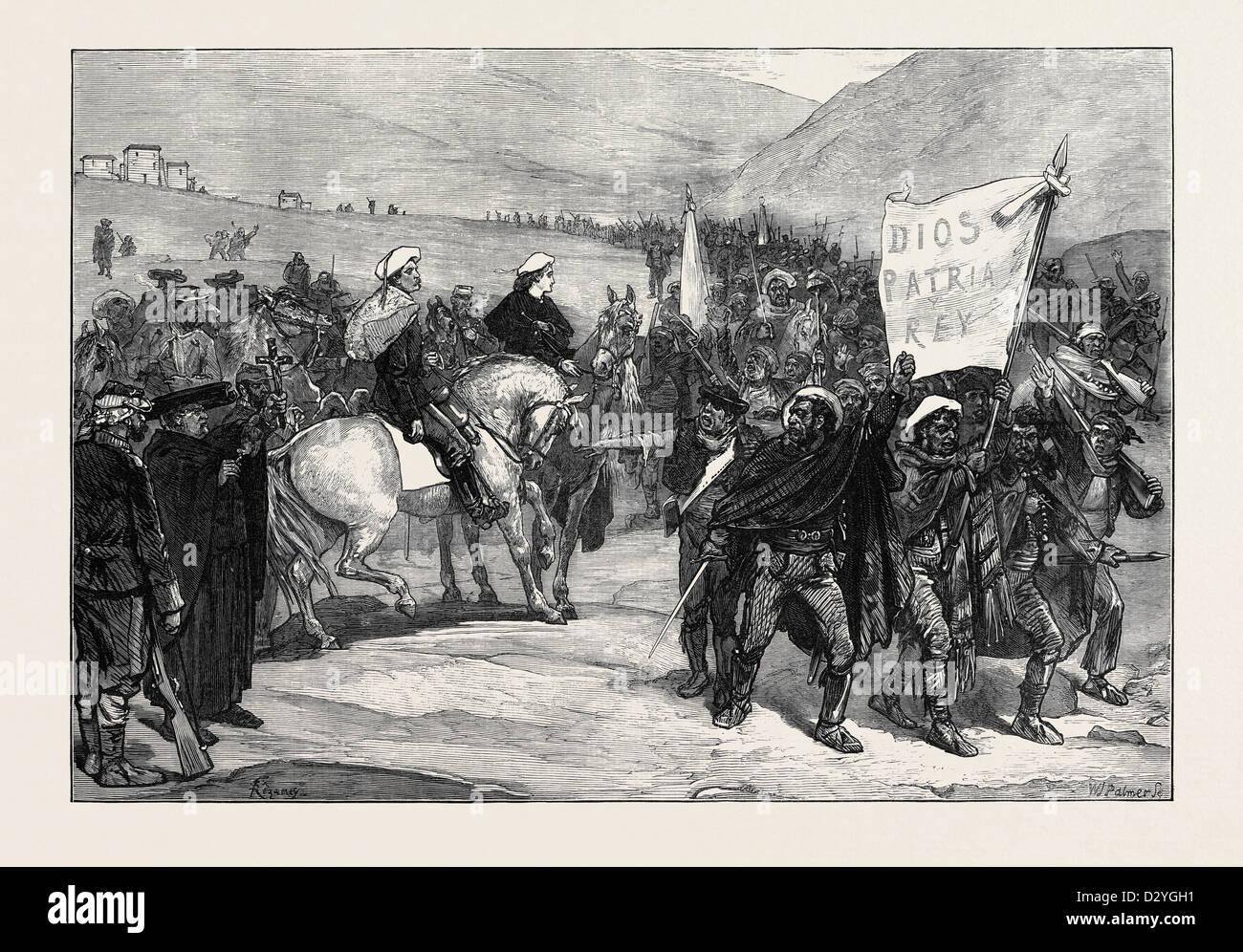 ÜBERPRÜFUNG DER CARLIST FREIWILLIGE IN KATALONIEN VON DON ALFONSO 1873 Stockbild