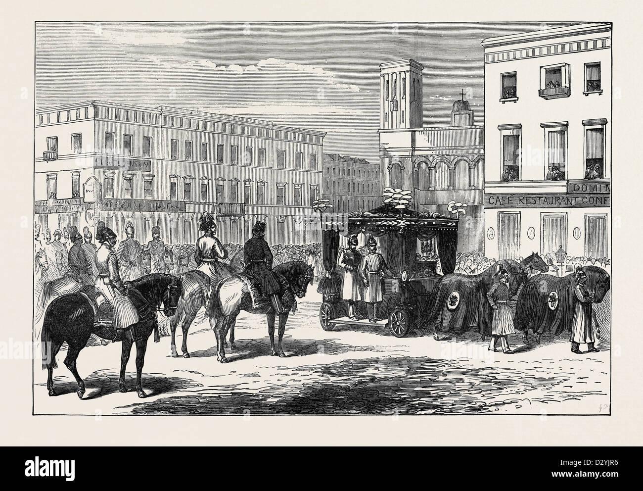 DAS BEGRÄBNIS DES GRAFEN BERG AT ST. PETERSBURG RUSSLAND 1874 Stockbild