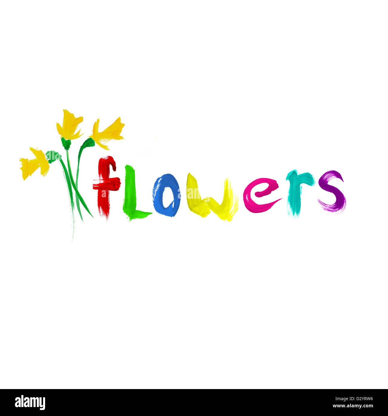 Gemalte Blumen auf weißem Hintergrund Stockbild