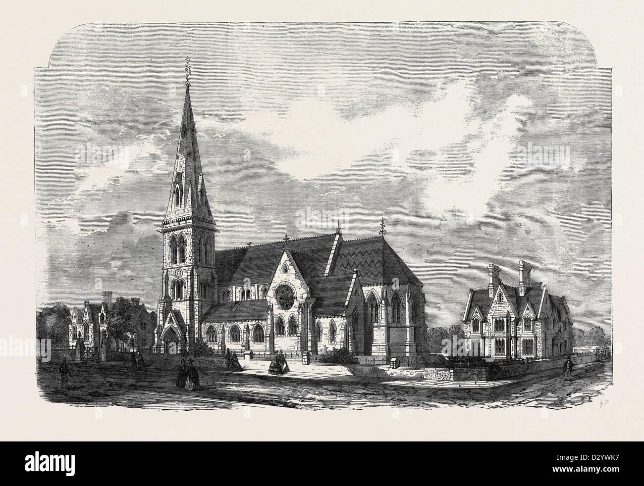 ST. ANNEN KIRCHE PFARRHAUS UND SCHULEN HANGER LANE STAMFORD HILL Stockbild
