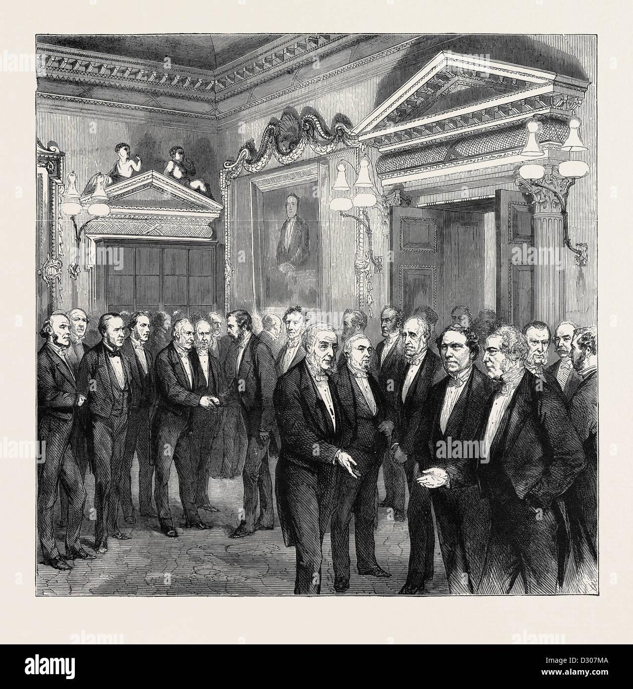 SOIRÉE IN DER ROYAL SOCIETY, 1870 Stockbild