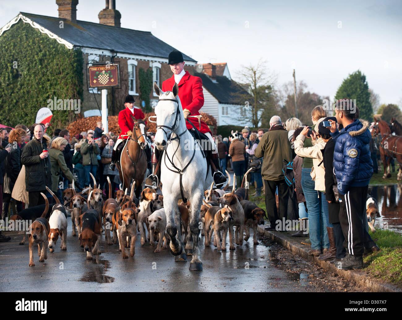 Fuchs-Jagd - Boxing Day Jagd bei Matching Green Village, Essex, UK beginnt Stockbild