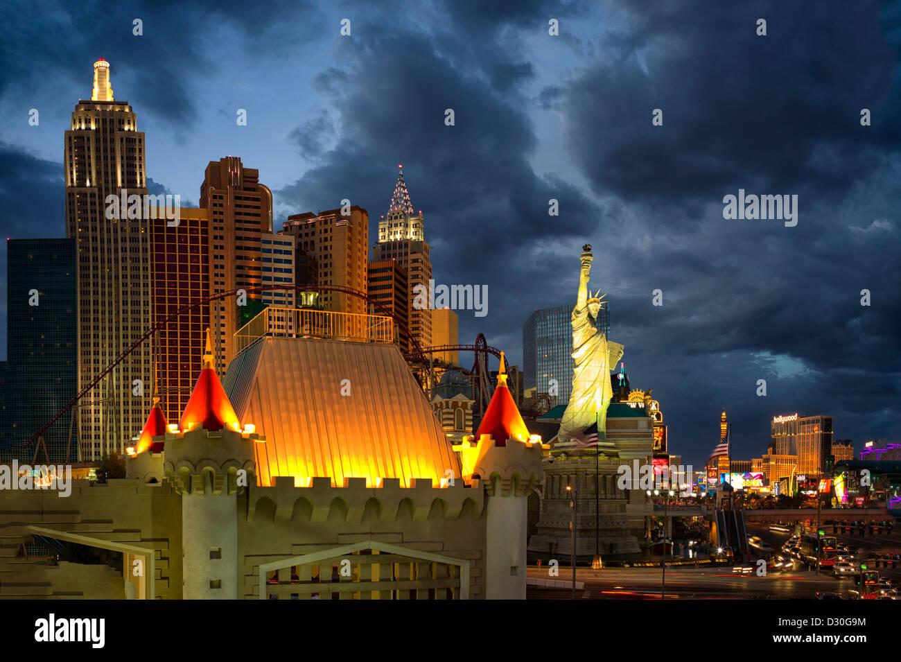 Las Vegas skyline.at Nacht. Nevada Stockbild