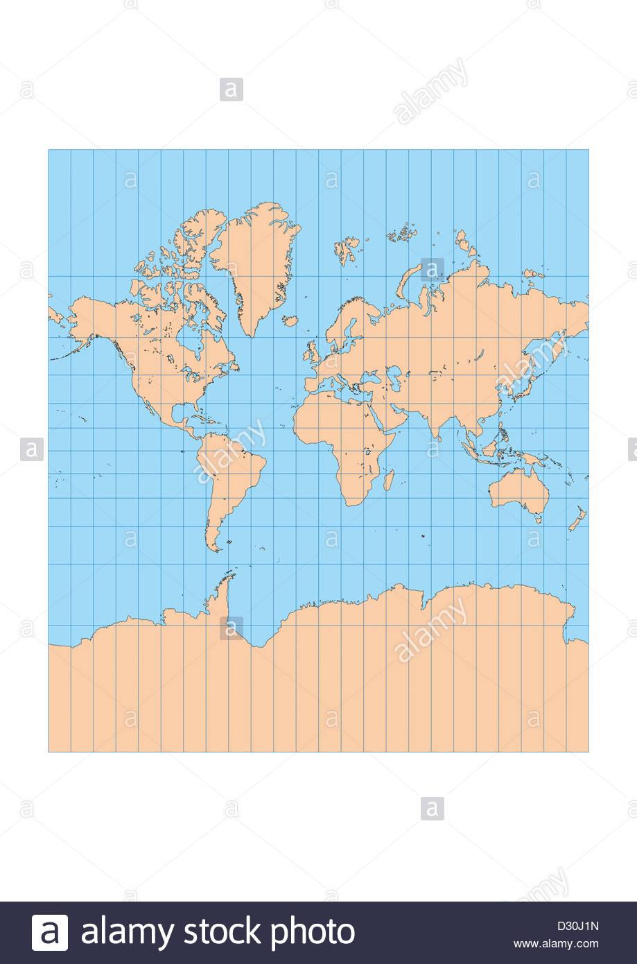 Sehr Hoch Detaillierte Karte Der Welt In Mercator Projektion Mit