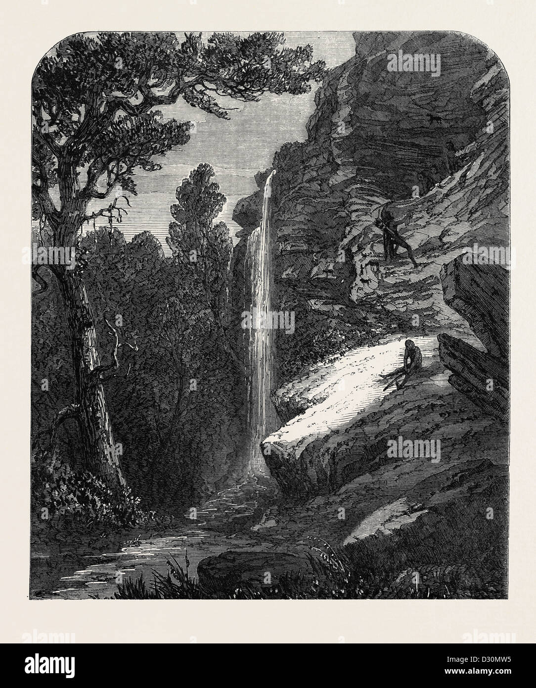 BUSHMAN HÖHLE ELAND BERG KAT RIVER SÜDAFRIKA 1869 Stockbild