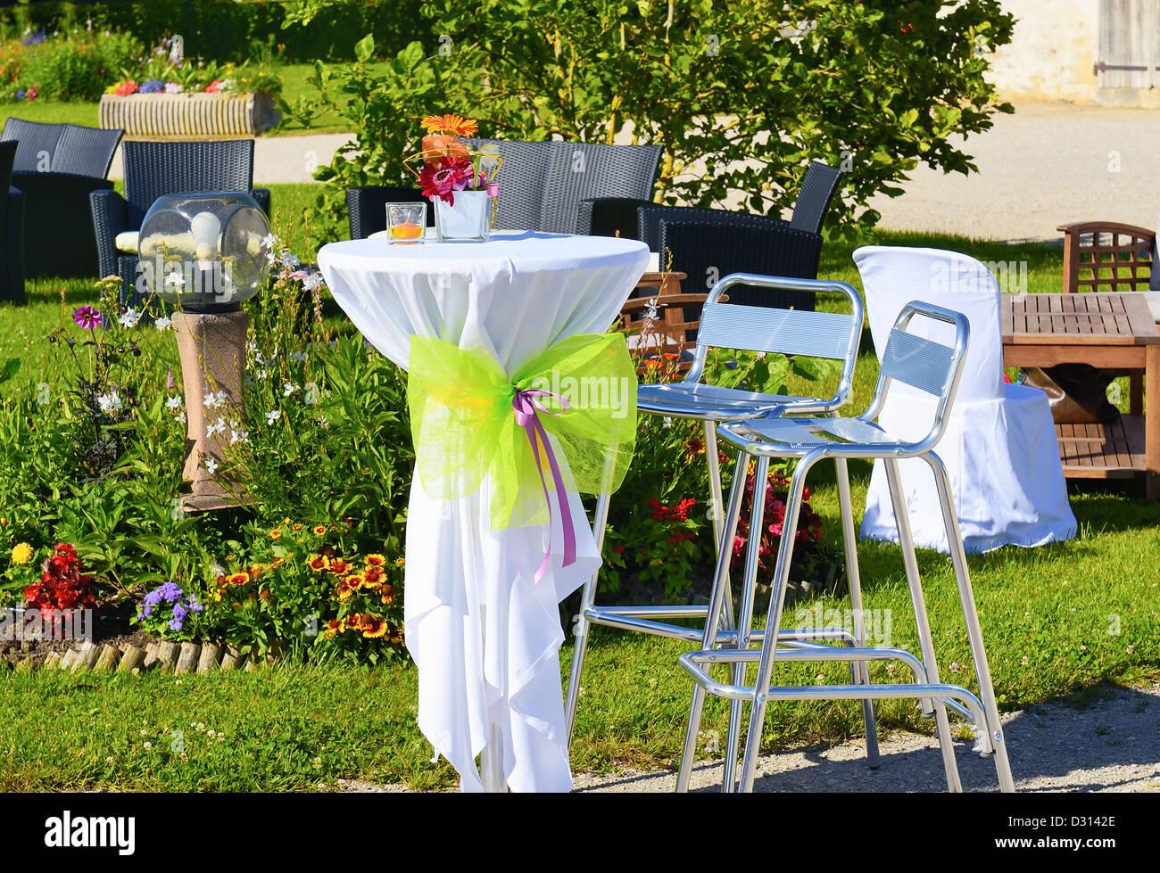 Festliche Gartenparty Fur Eine Hochzeit Stockfoto Bild 53500230