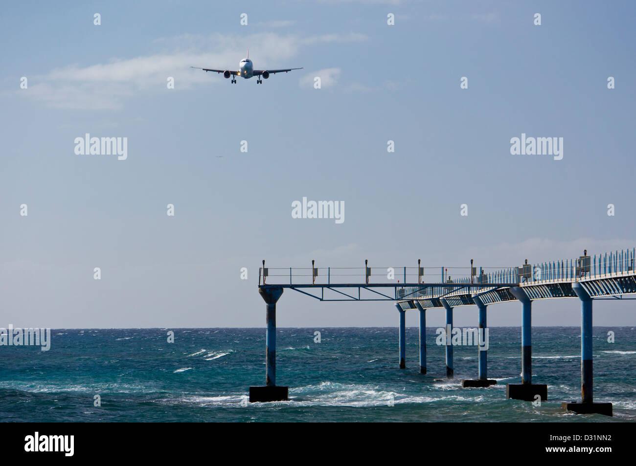 Arricife Flughafen Landung leuchtet Lanzarote Kanarische Inseln Stockbild