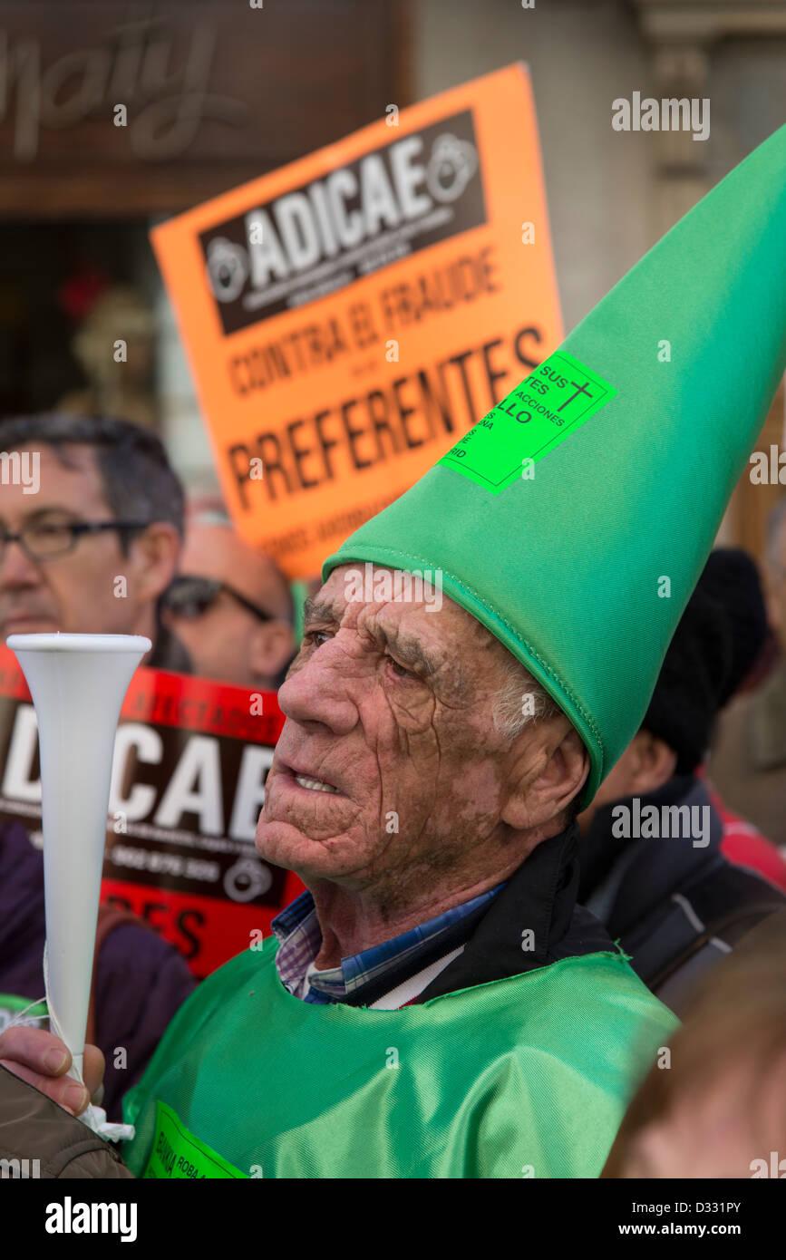 Demonstration von älteren Demonstranten, die ihre Ersparnisse in Bankia Vorzugsaktien verloren haben Stockbild