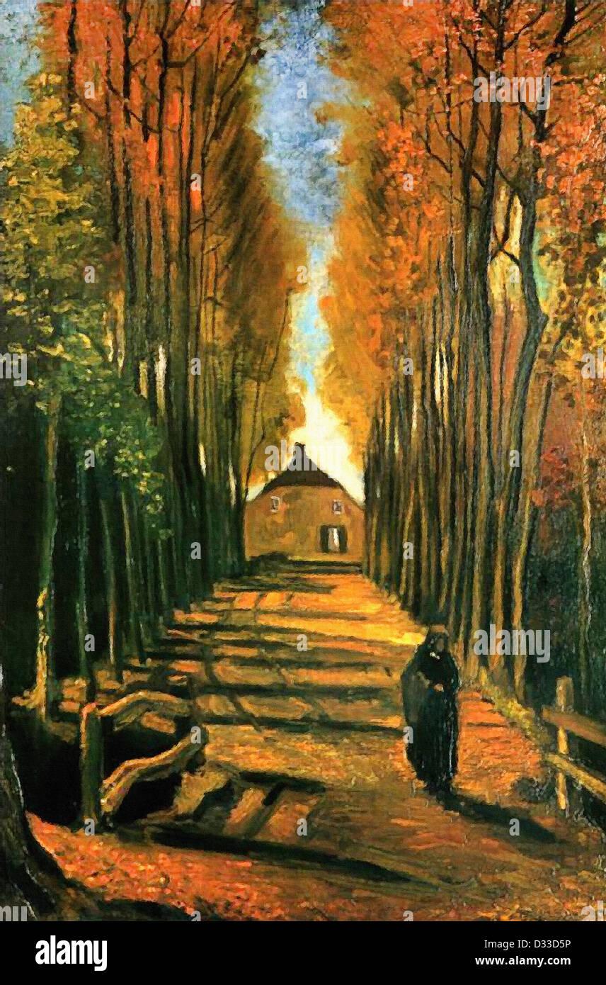 Vincent Van Gogh: Avenue von Pappeln bei Sonnenuntergang.