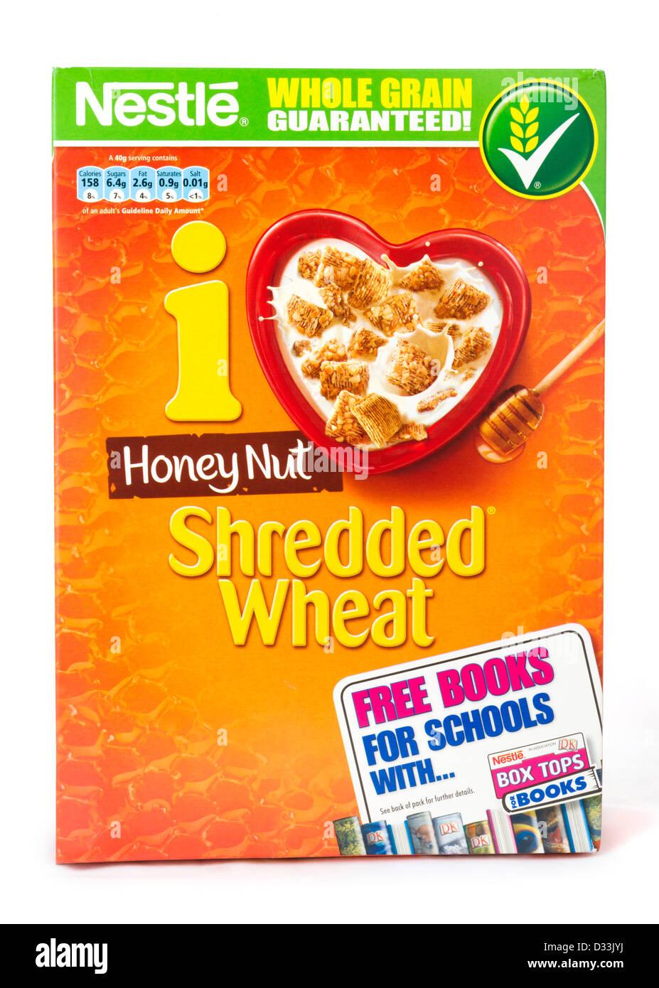 Honig-Nuss geschreddert Weizen Frühstücks-Cerealien, UK Stockbild