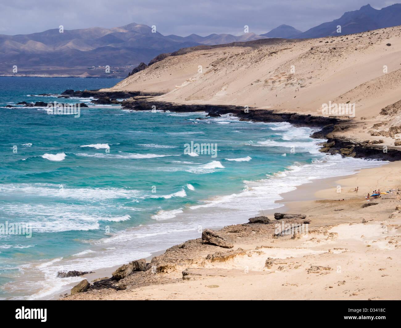 Der felsige West Küste von Fuerteventura an Agua Liques, Istmo De La Pared. Stockbild