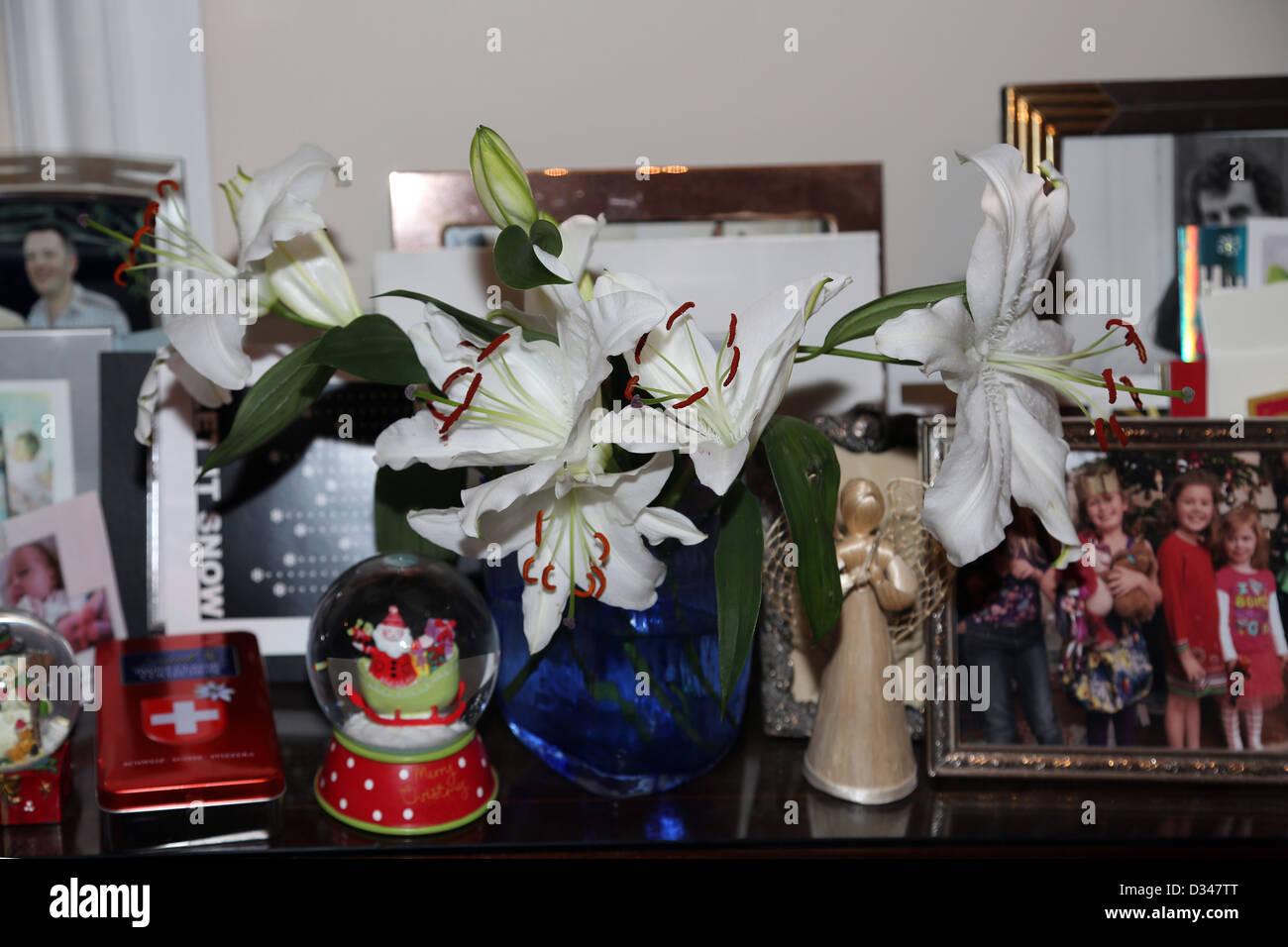 Lilien In einer Vase von Fotografien und Ornamente Stockbild