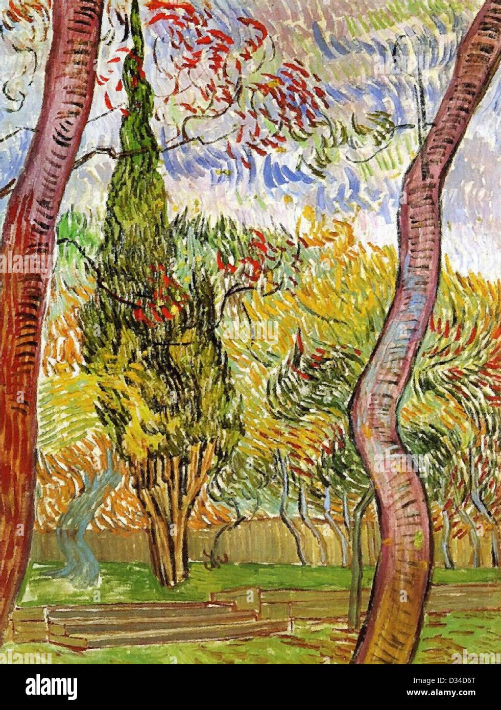Vincent Van Gogh, der Garten von Saint-Paul-Hospital. 1889. Post-Impressionismus. Öl auf Leinwand. Stockbild