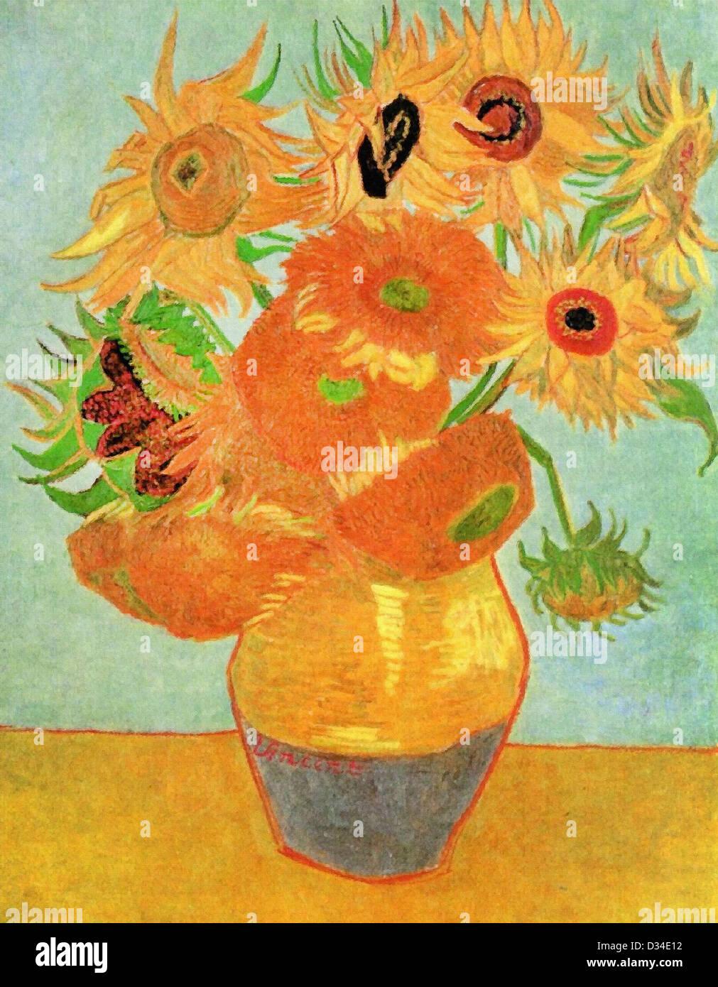 Vincent Van Gogh, Stilleben Vase mit zwölf Sonnenblumen. 1889. Post-Impressionismus. Öl auf Leinwand. Stockbild