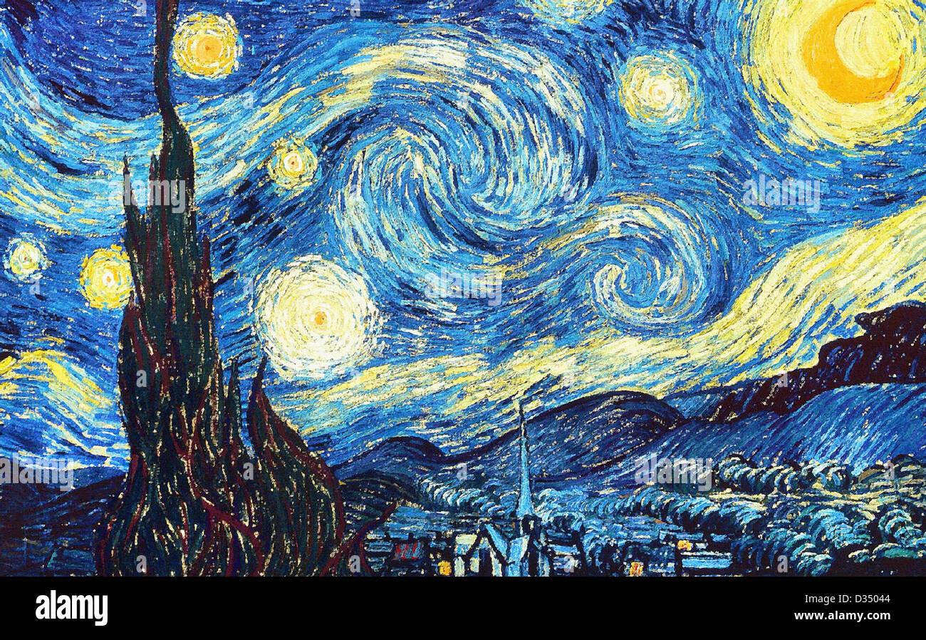 Vincent Van Gogh Sternennacht. 1889. Realismus. Öl auf Leinwand. Museum of Modern Art, New York, USA. Post Stockbild