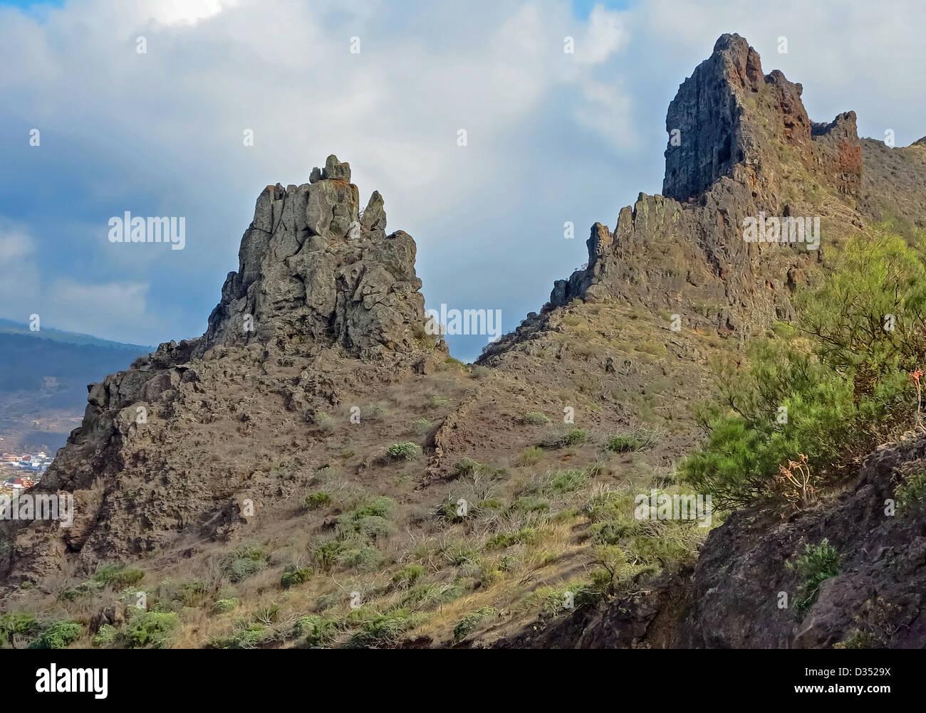Masca Berge von Teneriffa Stockbild