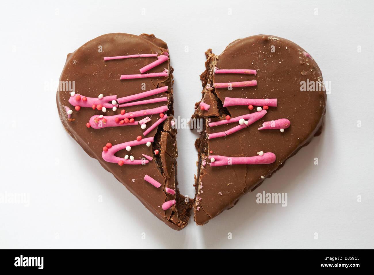 Gebrochenes Herz Valentinstag Schokolade Herz Kuchen Kuchen In