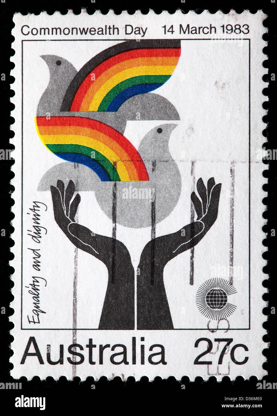 Gleichheit und Menschenwürde, Commonwealth-Tag, Briefmarke, Australien, 1983 Stockbild