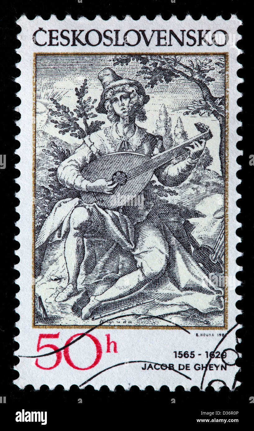 Der Lautenspieler, Gravur, Briefmarke, Tschechoslowakei, 1982 Stockbild