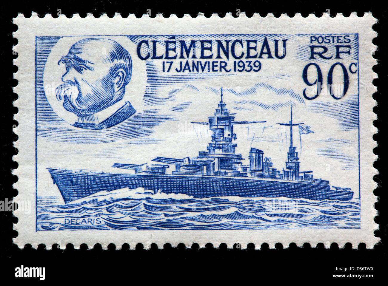 Georges Clemenceau und Battleship, Briefmarke, Frankreich, 1939 Stockbild