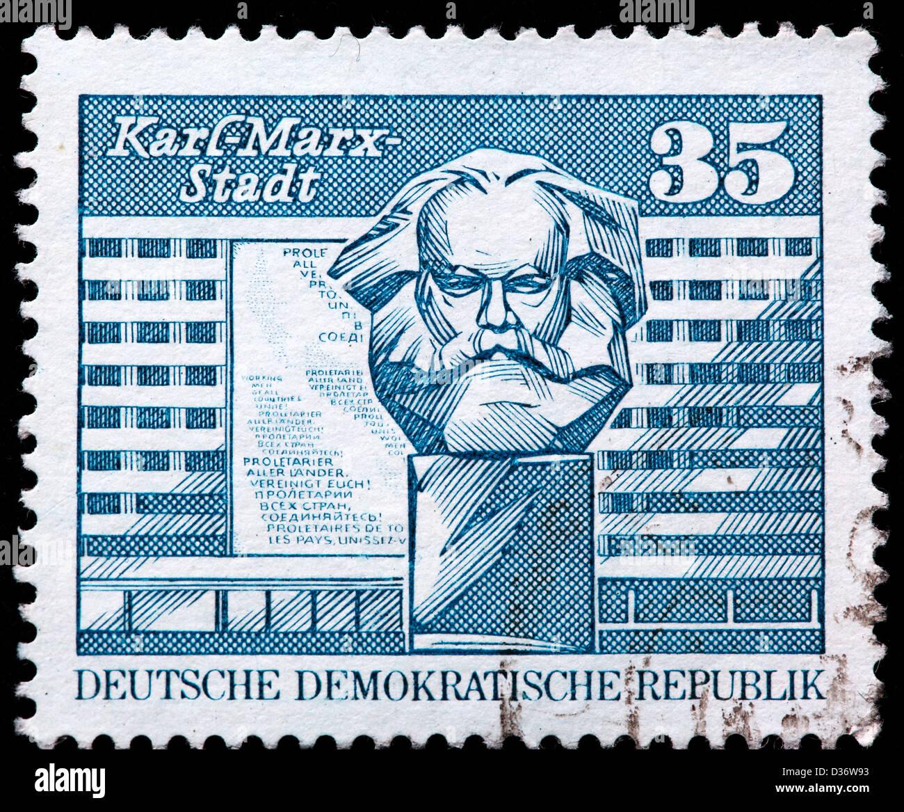 Marx-Denkmal, Karl-Marx-Stadt, Briefmarke, Deutschland, 1973 Stockbild