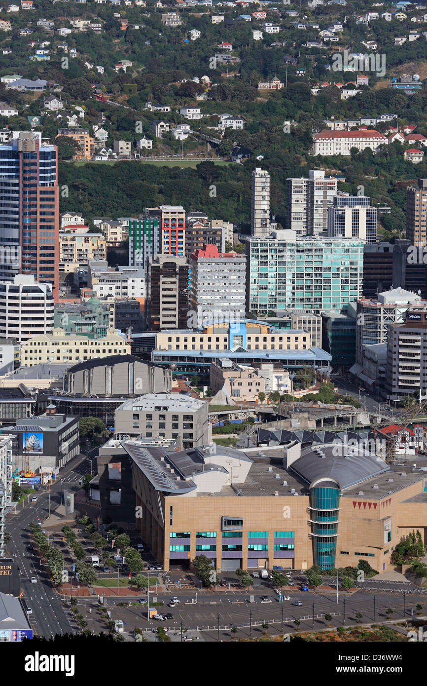 Blick auf Wellington City und Te Papa Museum of New Zealand vom Mount Victoria Stockbild