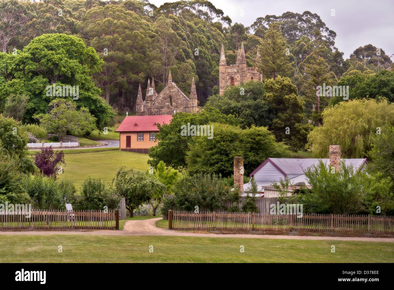 Gebäude, Ruinen in Port Arthur, Tasmanien, das einst ein Moreton Bay in der Kolonie zu überführen Stockbild