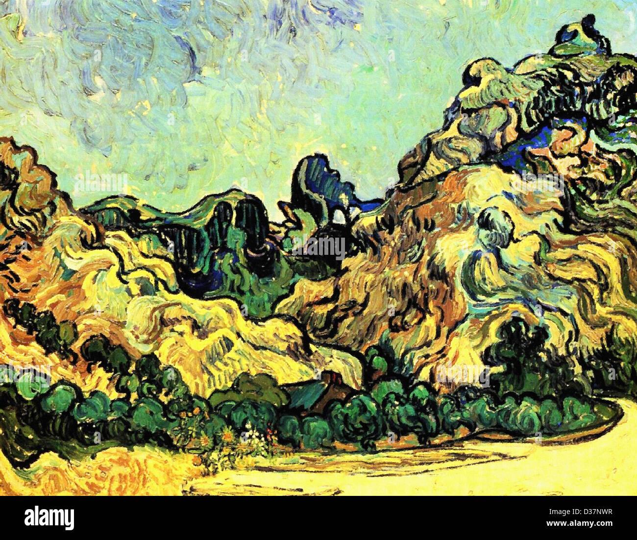 Vincent Van Gogh, Berge bei Saint-Remy mit dunklen Hütte. 1889. Post-Impressionismus. Öl auf Leinwand. Stockbild