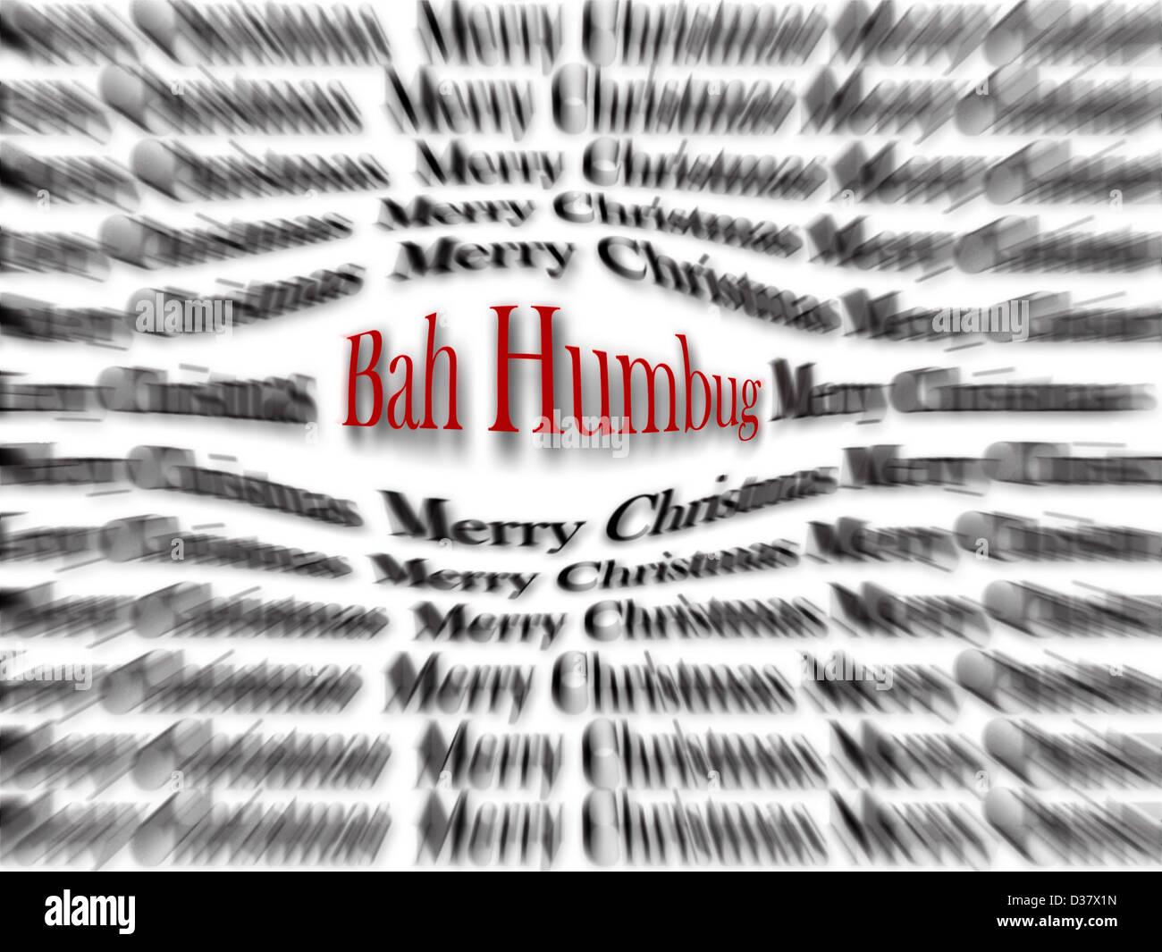 Frohe Weihnachten und Bah Humbug schwarz und weiß mit roten Wort ...