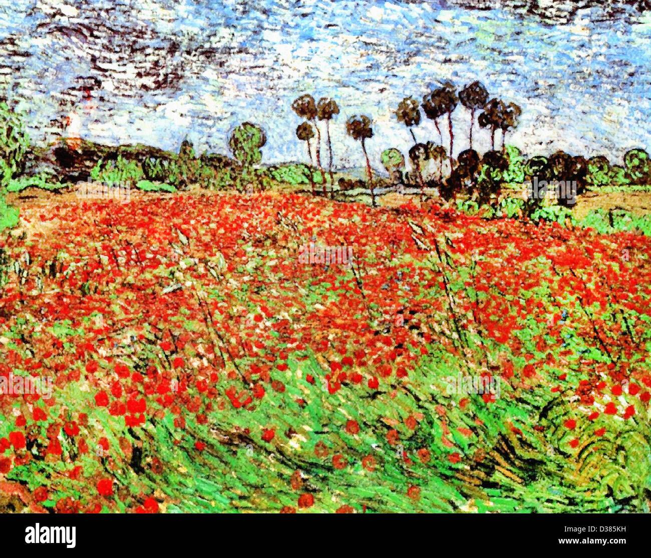 Vincent Van Gogh Feld Mit Mohnblumen 1890 Post Impressionismus Ol Auf Leinwand Haags Gemeentemuseum Haag Niederlande Stockfotografie Alamy