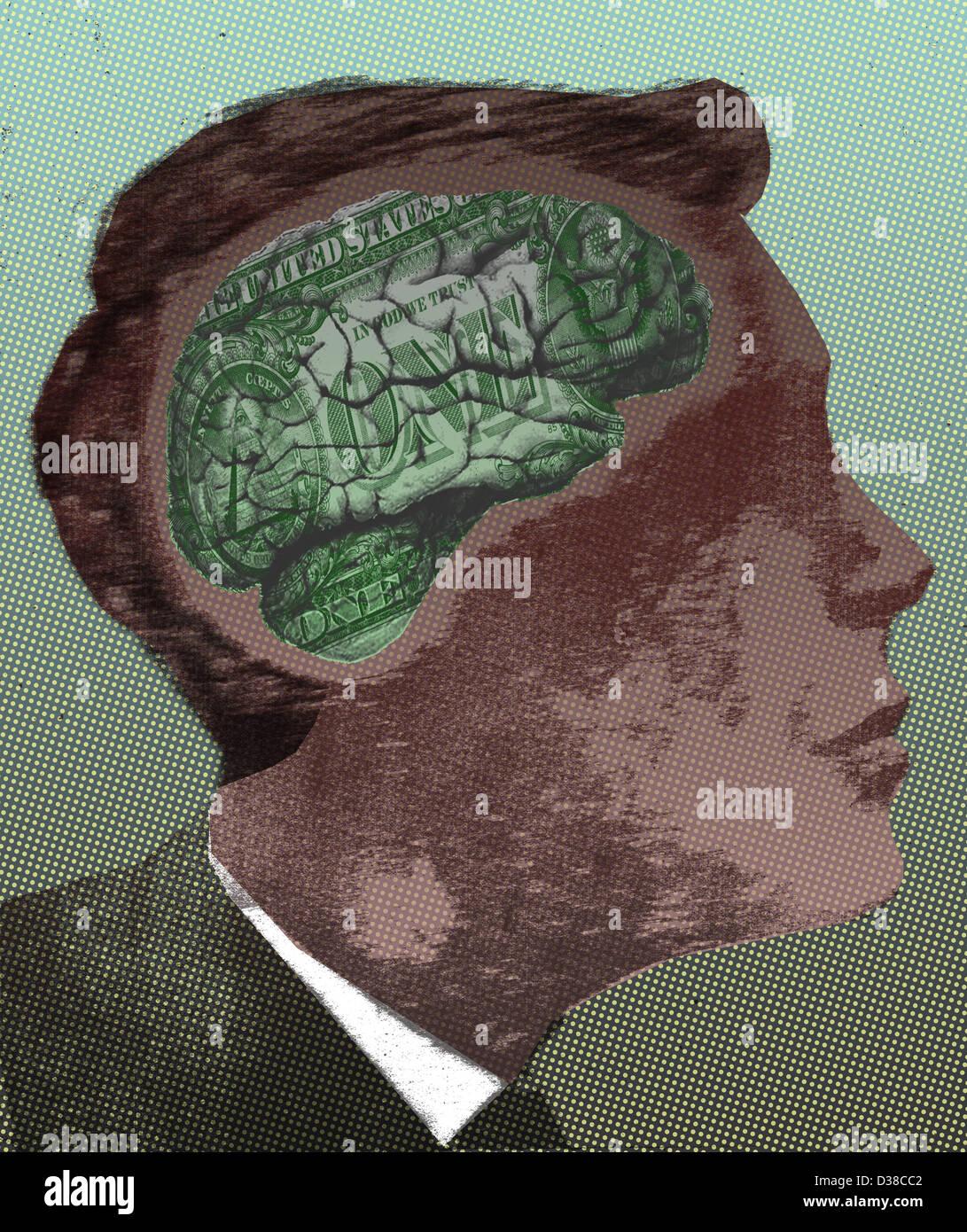 Anschauliches Bild der Geschäftsmann mit Geld denkende Gehirn repräsentieren wirtschaftliches Denken Stockbild