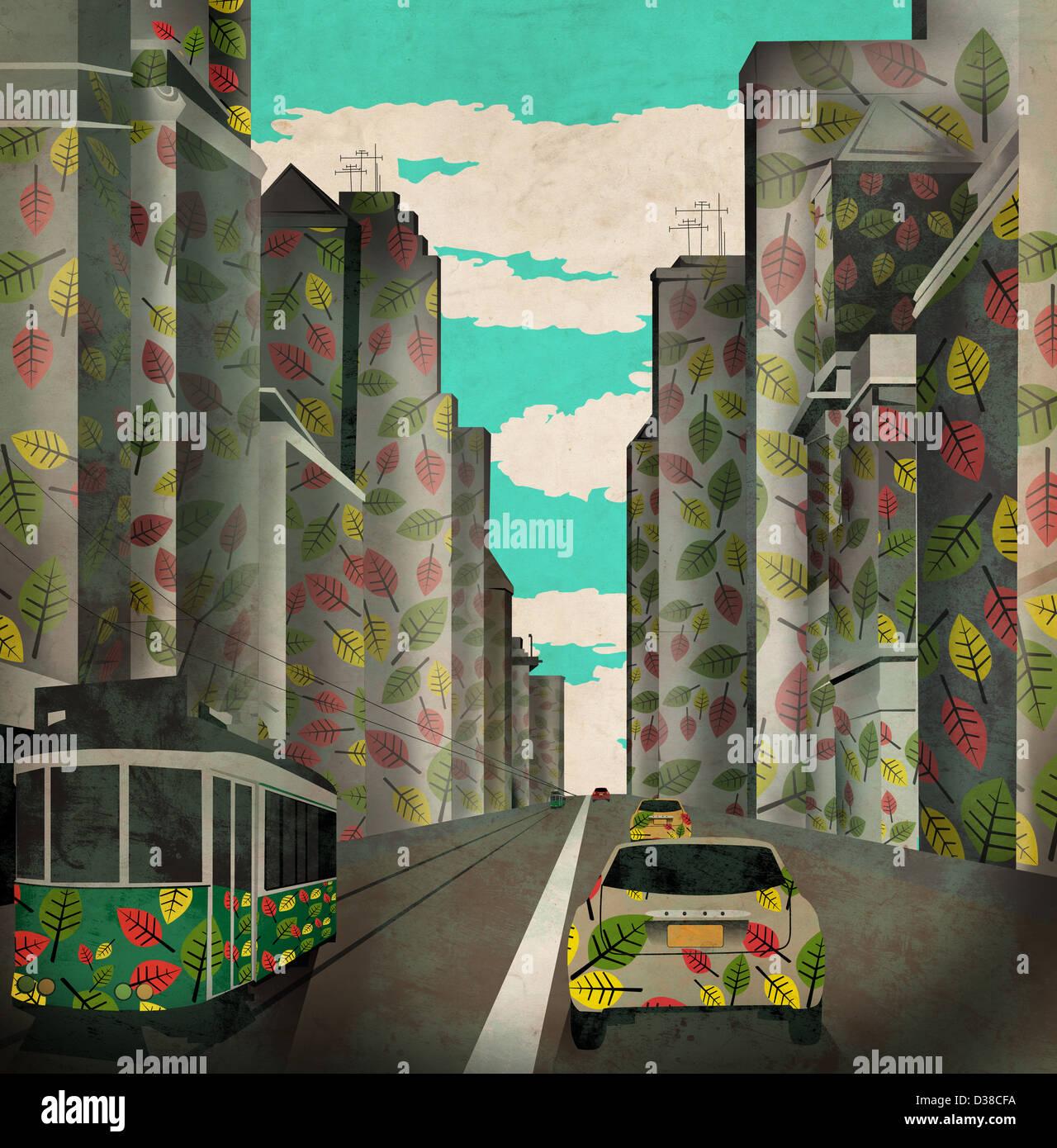 Anschauliches Bild von Fahrzeugen und Gebäuden mit Blätter-Design repräsentieren Ökostadt Stockbild