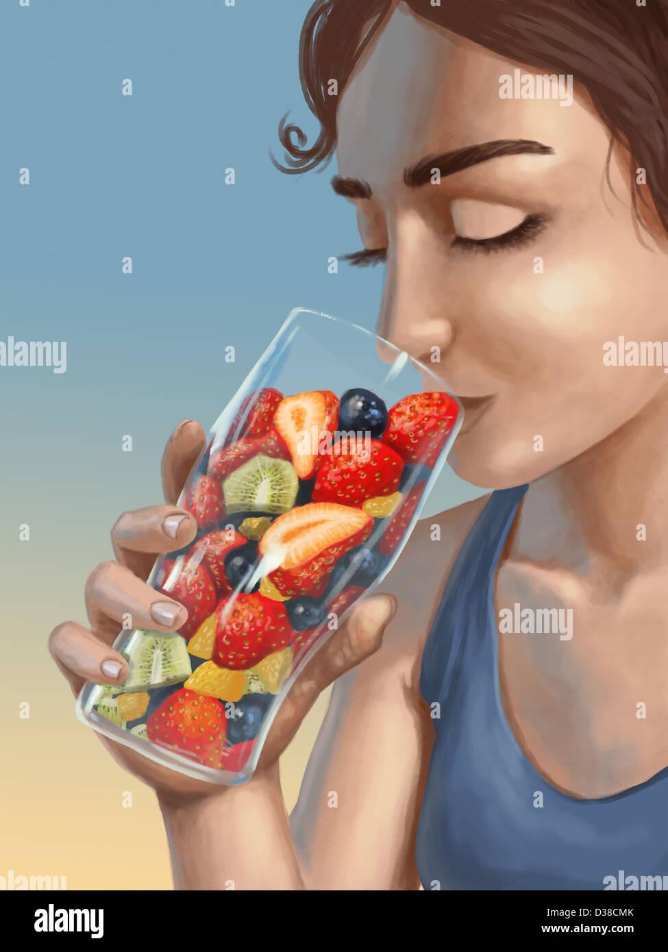 Anschauliches Bild der Frau hält ein Glas, gefüllt mit frischem Obst, gesunde Lebensweise darstellt Stockbild