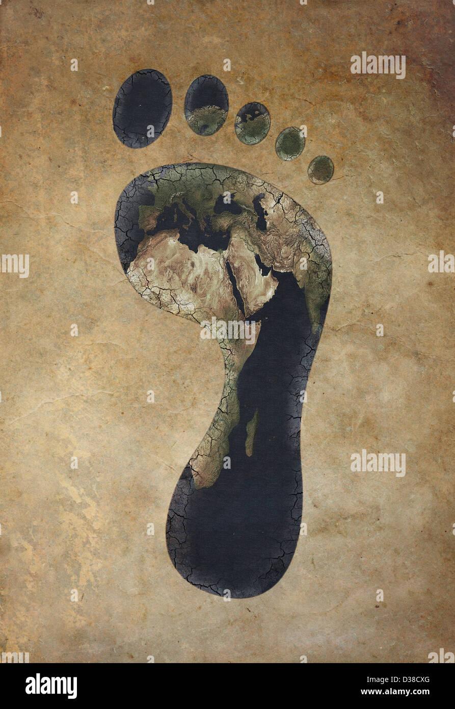 Anschauliches Bild des ökologischen Fußabdrucks vor farbigem Hintergrund Stockbild