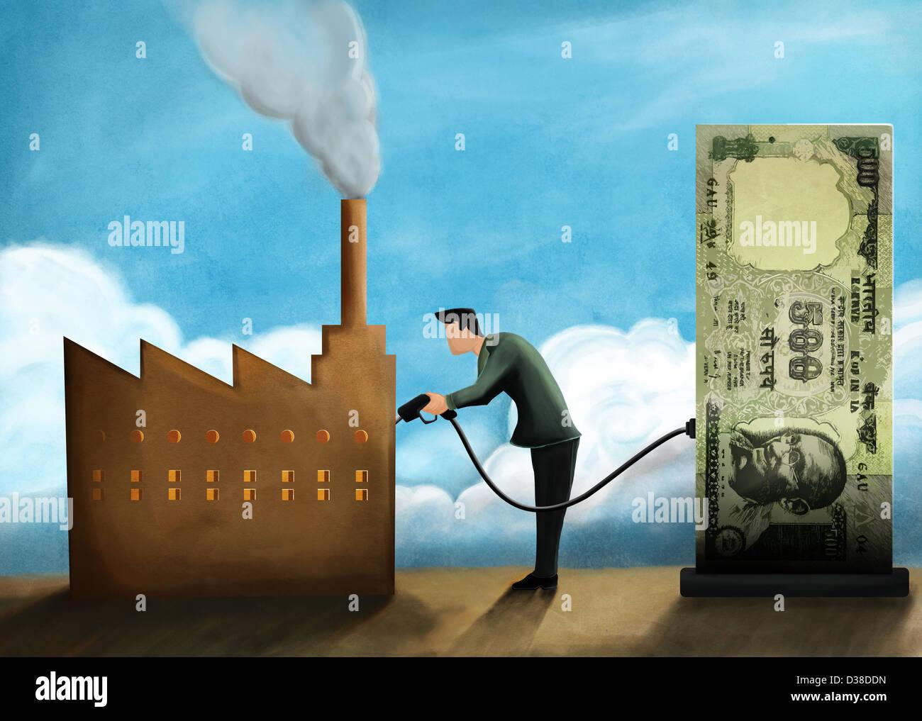 Anschauliches Bild der Geschäftsmann Betankung Fabrik mit Geld die Investition Stockbild
