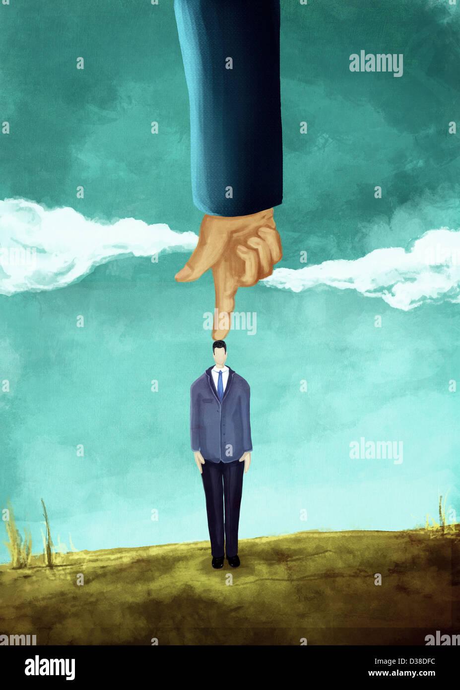 Anschauliches Bild von Hand verweist auf das Unternehmer Kopf, Herrschaft darstellt Stockbild