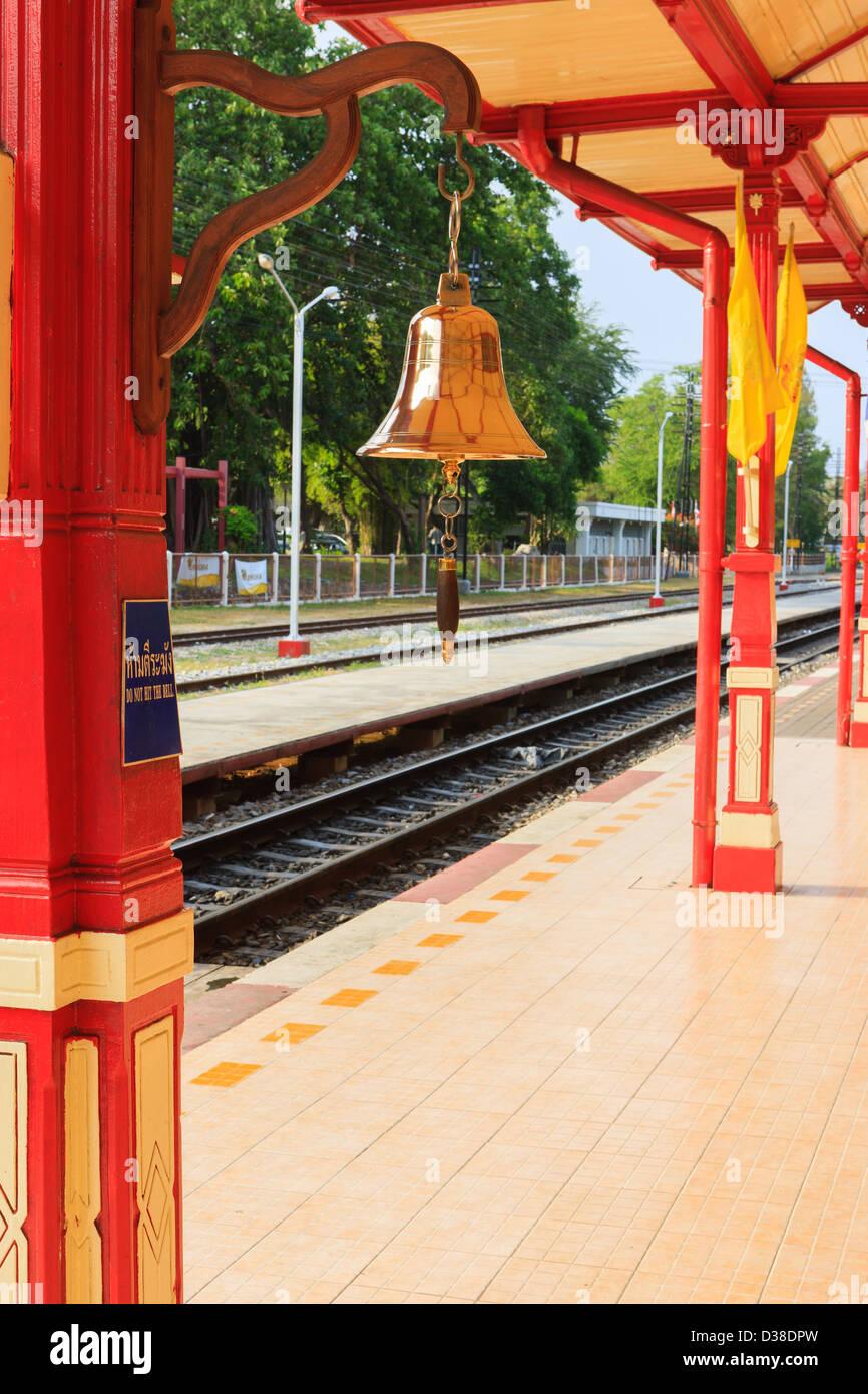 Bahnhof Hua Hin, einer der schönsten Bahnhöfe in Thailand Stockbild
